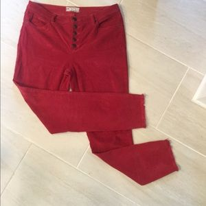 Free People cords in raspberry color.